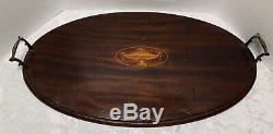 Mahogany OVAL TRAY with URN INLAY Brass Handles Beveled Edge 25 Butlers Serving