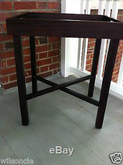 Mahogany Wood Folding Rectangular Removable Serving Tray Table