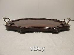Maitland-Smith BURLED WOOD Serving TRAY Hand Made Estate 2530-121 Brass Handles