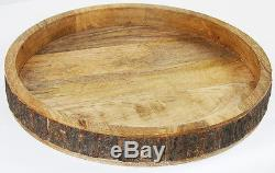 Manor Luxe Villa Artisan Rustic Wood Spanish Olive Round Tray