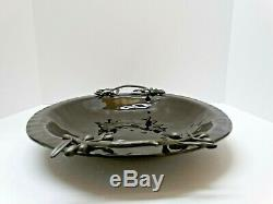 Michael ARAM Brown Dimpled Glass OLIVE BRANCH PLATTER Tray Bowl Dish 18