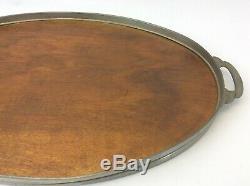 Mid-Century Modern Holland Metal Wood Wooden Breakfast Drink Serving Platter