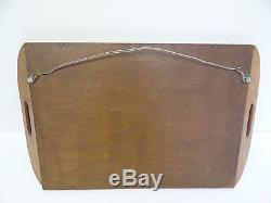Mid-Century Modern Wood Reverse Painting Glass Santos Rio Tropical Serving Tray