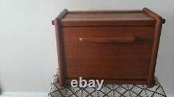 Mid Century Teak Wood Bread Box Storage Container Danish Modern Vintage