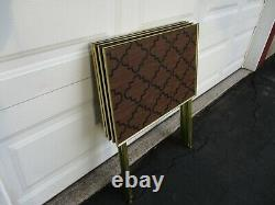 Mid Century Vintage Set of 4 Folding TV Trays Faux Wood Moroccan Arabesque EVC