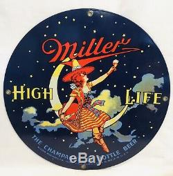 Miller High Life Girl On Moon Beer Serving Metal Tray&Sign Wood Thermometer RARE
