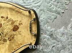 Mint Vintage Mahogany Walnut Floral Inlay Copper Handles Serving Tray Italy