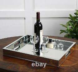 Modern Mirrored Glass Serving Tray Decorative Bar Handles Mid Century Glam