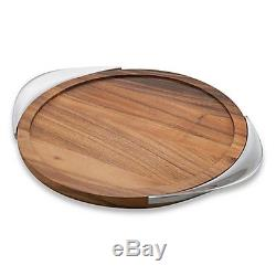 Modern Serving Tray Home Bar Tool Tabletop Accessories Dining Wood Smooth Curves