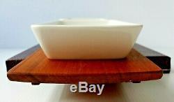 Modernist Norwegian Figgio Flint Clupea Serving Dishes & Teak Wood Tray Set 1960