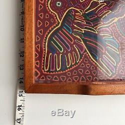 Mola Ceiba Wood Glass Top Serving Tray Panama Kuna Applique Fabric Textile Art