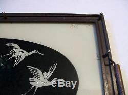 Moon Bird Crane Heron Serving Tray Wood Metal Glass Vintage