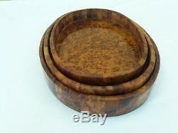 Moroccan Dishes Thuya Thuja Three Tray Burl Wood Handmade Craft Serving Kitchen