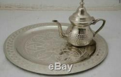 Moroccan arabesque carved engraved polished brass tray folding table serving
