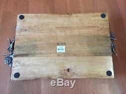 Mud Pie Acorn Oak Leaf Wooden Serving Tray Plate Handle Gallery 4891006 Rare