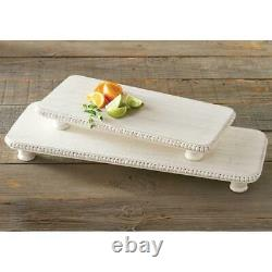 Mud Pie Home White Wash Beaded Wood Footed Serving Tray Platter, Set of 2