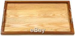 Natural Wooden Breakfast Dinner Lunch Food Bed Serving Kitchen Tray With Handles