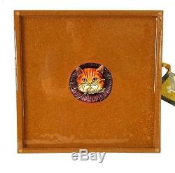 NEW Annie Modica Royal Cat Square Serving Tray Wood 12X12 Decoupage Black Gold