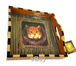 NEW Annie Modica Royal Cat Square Serving Tray Wood Decopauge 12X12