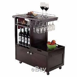 NEW Espresso Rolling Wine Wooden Glass Beverage Serving Cart Party Drink Tray