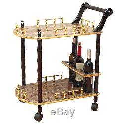 NEW Vintage Rolling Gold Marble Wood Tea Beverage Bar Serving Cart Drink Tray