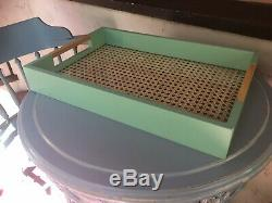 NEW Vintage Wood Glass Rattan Serving Tray Handles PISTACHIO Green Breakfast Bed
