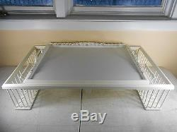NEW -White Wood Lap Bed Serving Table with Basket Legs & Removable Tray NEW in Box