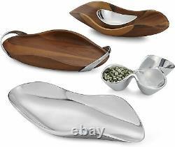 Nambe Bella Acacia Wood with Metal Handles Tray Natural & Silver 18