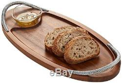 Nambe Braid 2-Piece Serving Board and Dipping Bowl Set (MT0776)