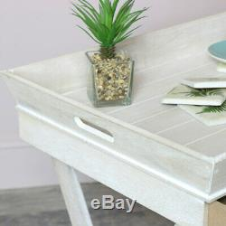 Natural rustic wood butlers serving tray drawer storage occasional side table