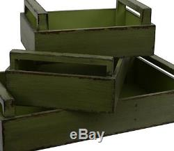 New 3-pcs. Stylish Green Distressed Durable Handy Wood Rectangle Serving Tray