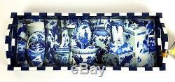 New ANNIE MODICA Imari Blue & White Bar Tray Art Collectible Wood Decoupage