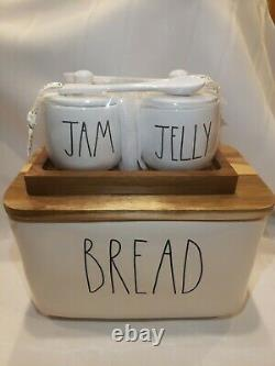New HTF Rae Dunn JAM & JELLY with Wood Tray and Serving Spoons and BREAD box