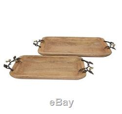 New Victoria Set of 2 Natural-Inspired Wood Rectangular Durable Serving Trays