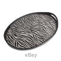 Novica Zebra Print Oval Reverse Painted Glass and Wood Serving Tray