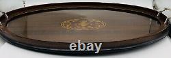 Old Antique VTG Art Deco Oval Wood Glass Butler Serving Tray 25 7/8L. X 14 1/2