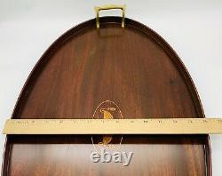 Old Butler Oval Inlaid Mahogany Serving Tray Brass Handles E. F. S. Maker 24+