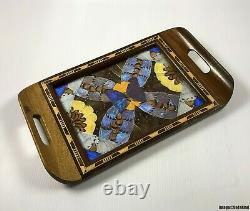 Old Vintage Iridescent Butterfly Wings Inlay Wood Serving Tray Woodenware Art
