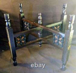 Old Vintage Metal Copper Middle Easter Tray Plate Serving Table Wood Base Inlaid