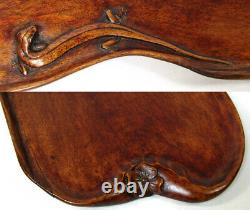 Oriental Carved Wood 23.25 Bar or Serving Tray, Flowers, Foliage & Salamanders