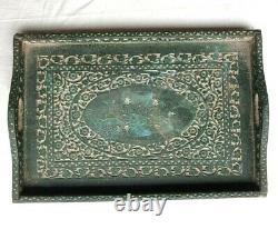 Original 1850's Old Antique Hand Craved Fine Design Engraved Wooden Serving Tray
