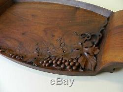 Original Hand Carved French Art Nouveau Signed Cedar Wood Tray