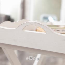 Ornate Vintage White Wooden Butlers Serving Tray Side Table Living Room Garden