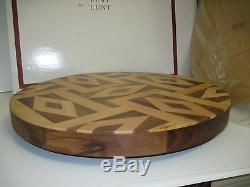 Oscar de la renta For Lunt Kentwood Lasy Susan Tray 16 Hand Crafted Inlaid -NOS