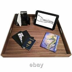 Ottoman tray with handles square extra large 24 x 24 inch wood serving tray