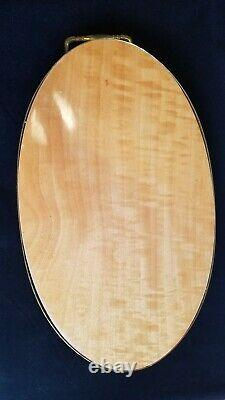 Oval Italian Marquetry Inlay Wood Serving Tray with Brass Trim And Handles 16 X 9