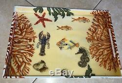 PALM BEACH Hand Painted Lacquer Wood Serving Tray Butler Sea Theme Artist Signed