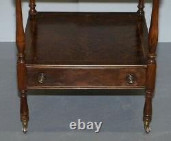 Pair Of Burr Walnut Side Lamp End Wine Tables Brown Leather Butlers Serving Tray