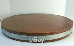 Patron Tequila Round Carved Wood Barrel Top Serving Tray Large 17 Metal Band