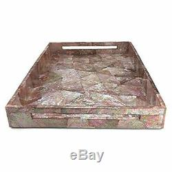 Pink Mother Of Pearl Inlay Wood Serving Kitchen Tray Large Modern Contemporary